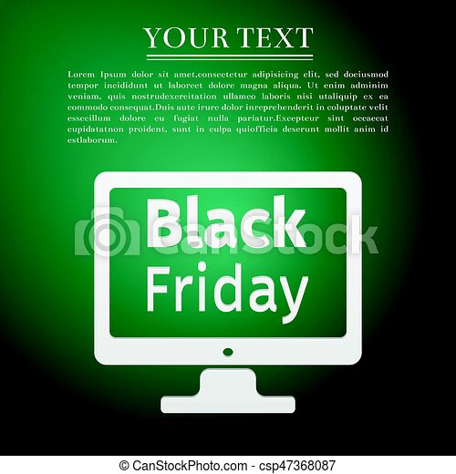 Monitor with Black Friday Sale on screen flat icon over green background. Vector Illustration - csp47368087