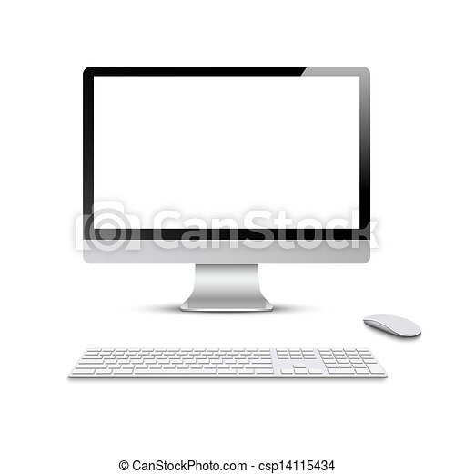 Monitor with keyboard and computer mouse - csp14115434