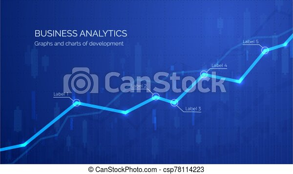 Monitoring finance profit and statistic. Graph chart of stock market investment trading. Abstract analisys and statistic diagram. vector illustration - csp78114223