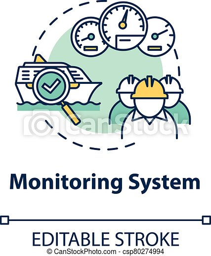Monitoring system concept icon. Check propulsion engine. Boat machinery offshore maintenance. Ship crew work idea thin line illustration. Vector isolated outline RGB color drawing. Editable stroke - csp80274994