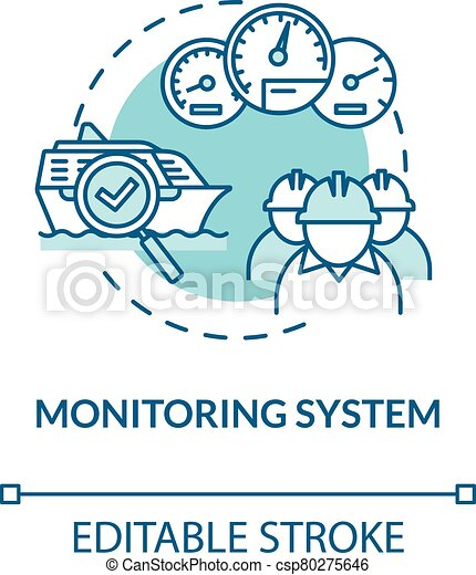 Monitoring system turquoise concept icon. Boat machinery offshore maintenance. Ship crew work idea thin line illustration. Vector isolated outline RGB color drawing. Editable stroke - csp80275646