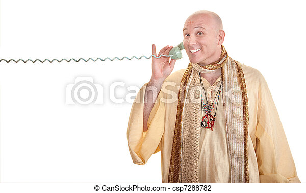 Monk Grins On Phone Call - csp7288782