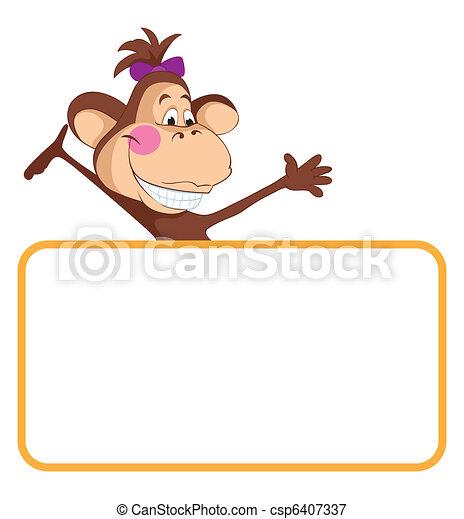 Monkey Baby Animal Banner Baby Animal Banner Monkey Cartoon Label