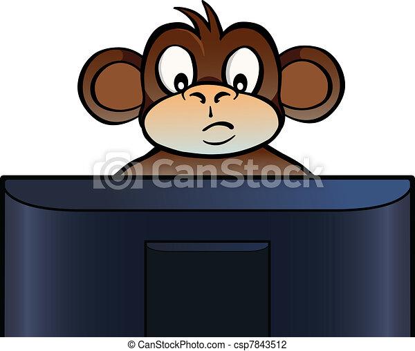 monkey behind screen monkey sitting behind a computer screen or tv