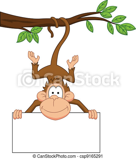 Monkey cartoon with blank sign - csp9165291