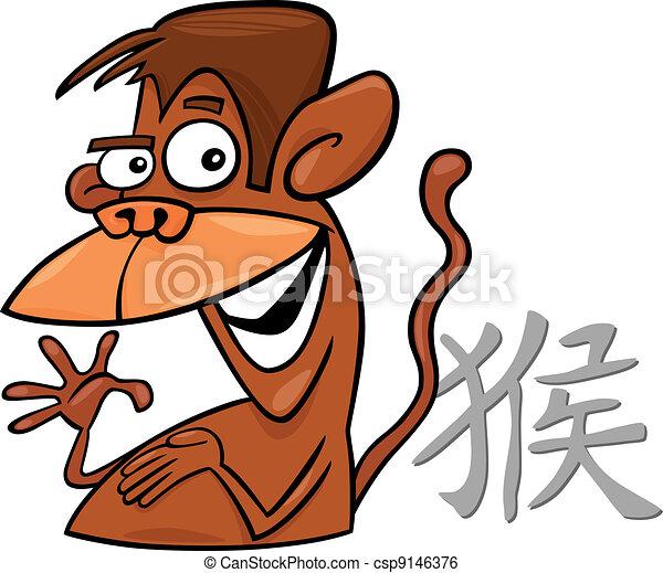 Monkey Chinese horoscope sign - csp9146376