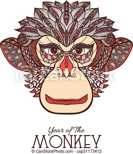 Monkey Color Face - csp31173412