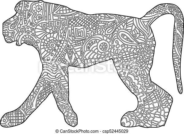 Monkey coloring book illustration.