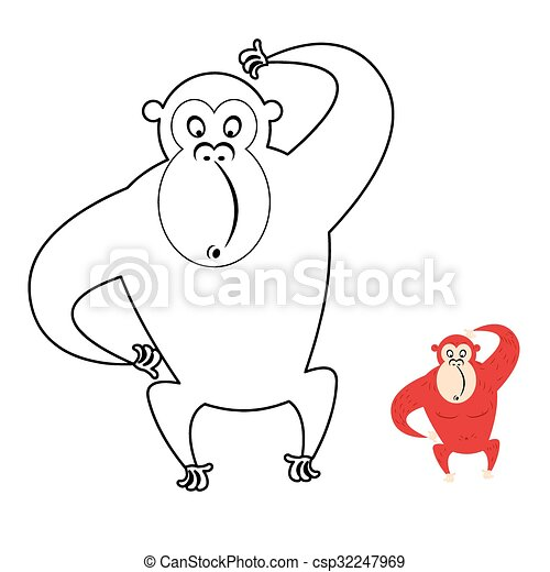 Monkey coloring book. red monkey makes surprise muzzle. funny ...
