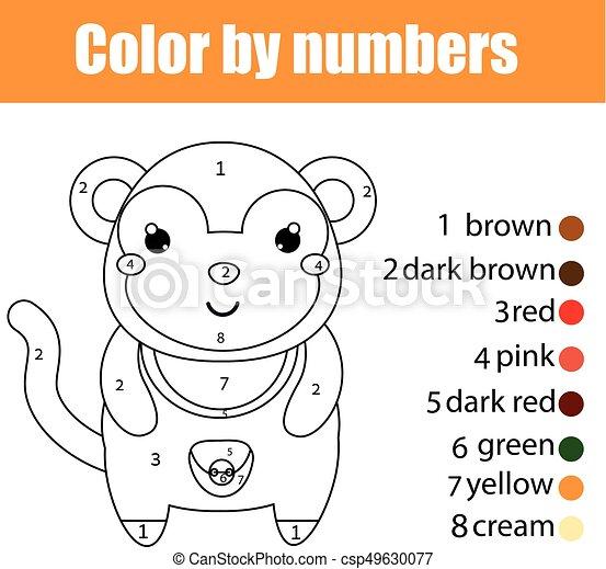 monkey., erzieherisch, färbung, farbe, spiel, zeichnung, kinder, zahlen, aktivität, kinder, seite