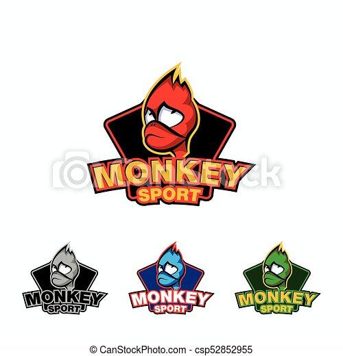 monkey face sport logo template set of colored fire monkey logo