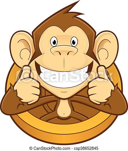 monkey giving two thumbs up clipart picture of a monkey cartoon rh canstockphoto com Funny Thumbs Up Clip Art Thumbs Pointing to Self