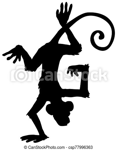 Monkey Hand Stand Silhouette Cartoon Monkey Hand Stand Upside Down Acrobatic Cartoon Character Black Silhouette Vector Canstock
