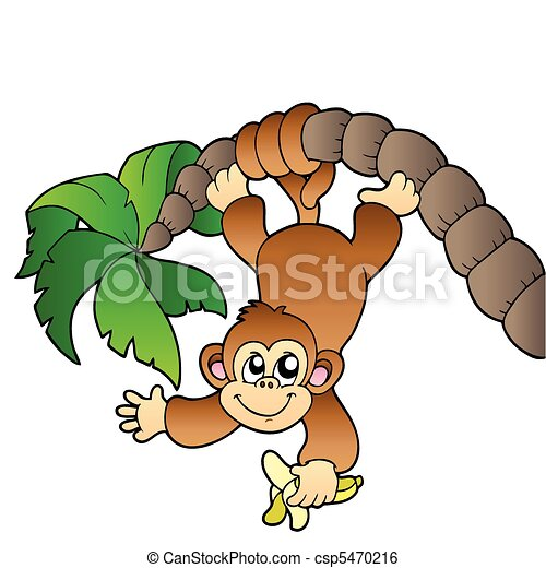 monkey hanging on palm tree vector illustration clip art vector rh canstockphoto com Happy Monkey Clip Art hanging monkey clipart black and white