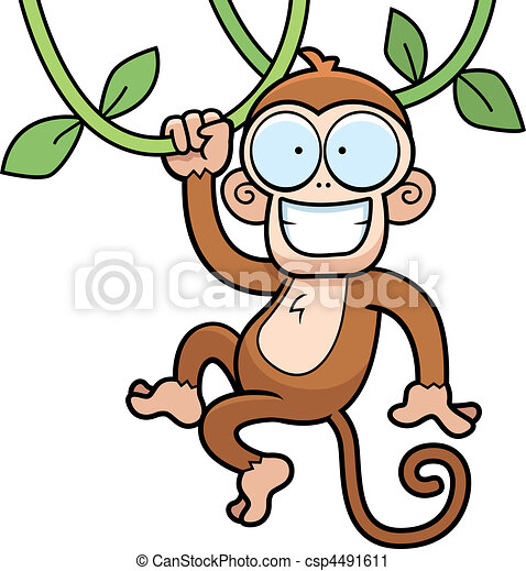 A Cartoon Monkey Hanging From Vines And Smiling. Vector Clip Art - Search Illustration Drawings ...