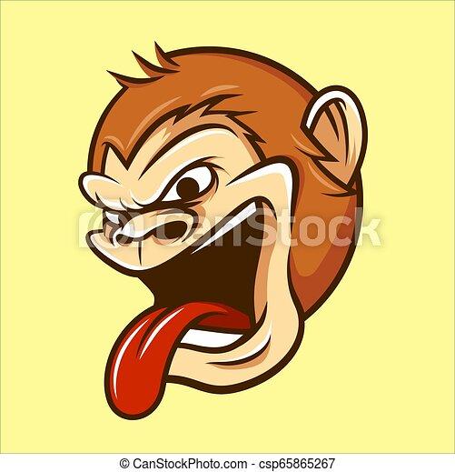 Monkey Head Mascot Illustration Vector in Cartoon Style - csp65865267