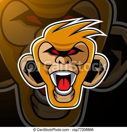 Monkey head mascot logo design - csp77308866
