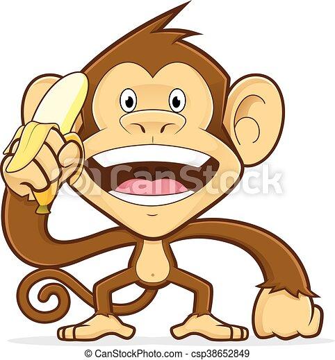 Monkey holding a banana - csp38652849