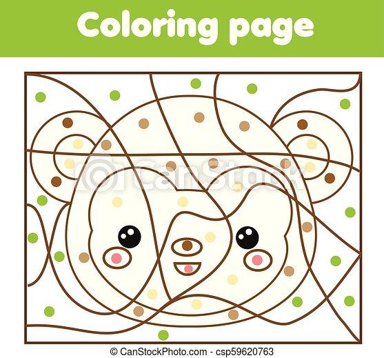 monkey., kropkuje, oświatowy, kolorowanie, kolor, game., dzieci, printable, działalność, strona - csp59620763