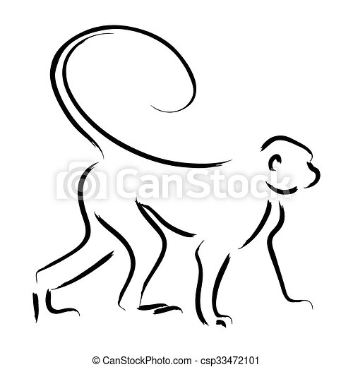 Exceptional Monkey Line Art   Csp33472101