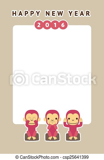 monkey new year card csp25641399