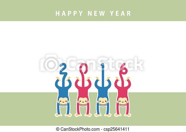 monkey new year card csp25641411