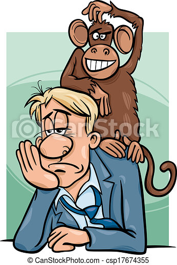 monkey on your back cartoon - csp17674355