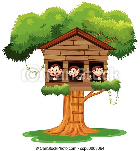 monkey playing at treehouse - csp60083064