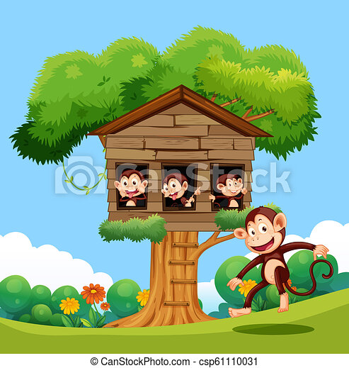 Monkey playing at treehouse - csp61110031