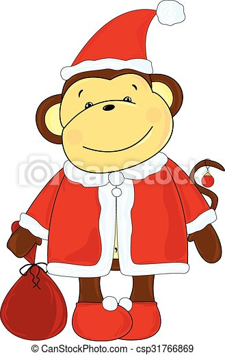 monkey santa vector illustration