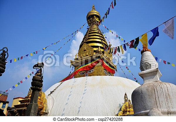 Monkey Temple with Buddha eyes - csp27420288