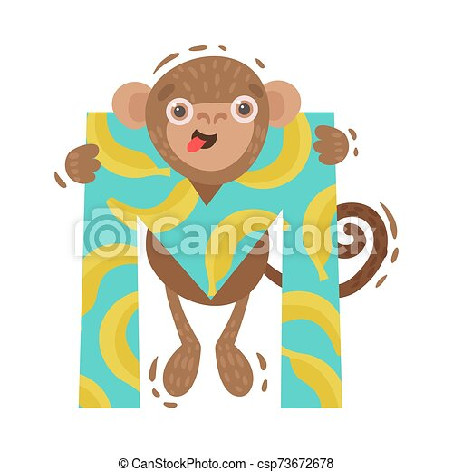 Monkey with the letter M. Vector illustration on a white background. - csp73672678