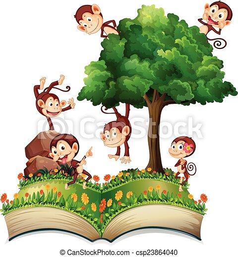 monkeys and tree illustration of many monkeys climbing a