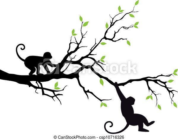 monkeys on tree vector monkey hanging on tree branch vector rh canstockphoto com branch vector free branch vector drawing