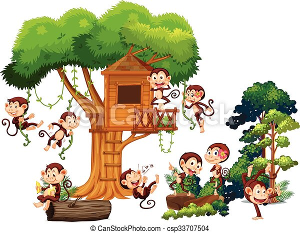 Monkeys playing and climbing up the treehouse - csp33707504