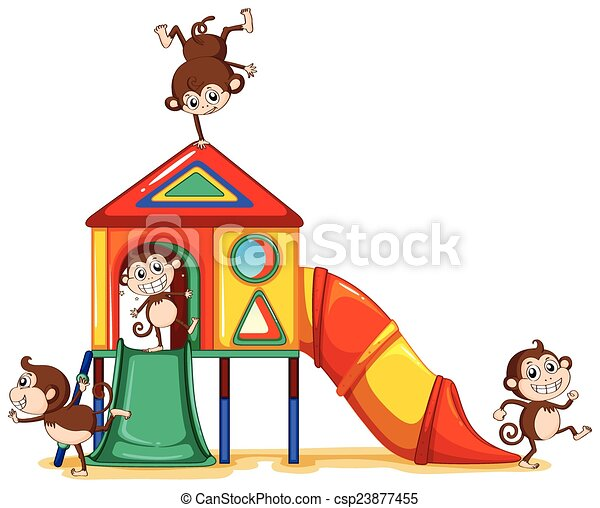 Monkeys playing at the playground - csp23877455