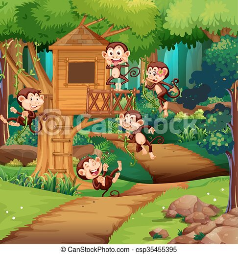 Monkeys playing at the treehouse - csp35455395