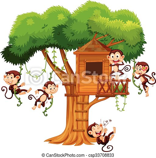 monkeys playing at the treehouse illustration vectors search clip rh canstockphoto com treehouse clipart free magic treehouse clipart