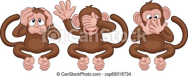 Monkeys See Hear Speak No Evil Cartoon Characters - csp69318734