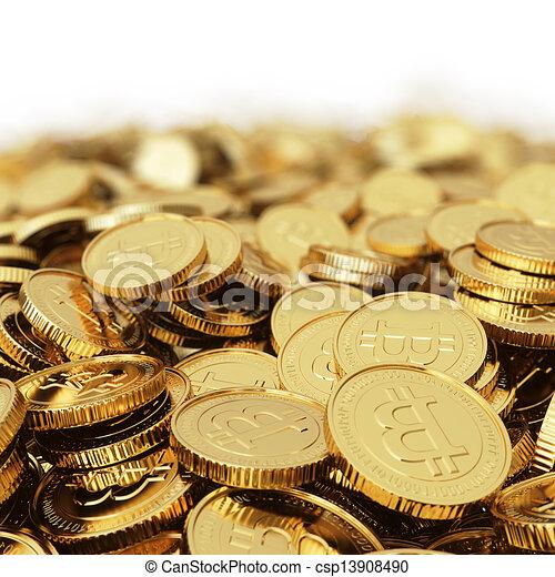 monnaie, bitcoin, numérique, bac, doré - csp13908490