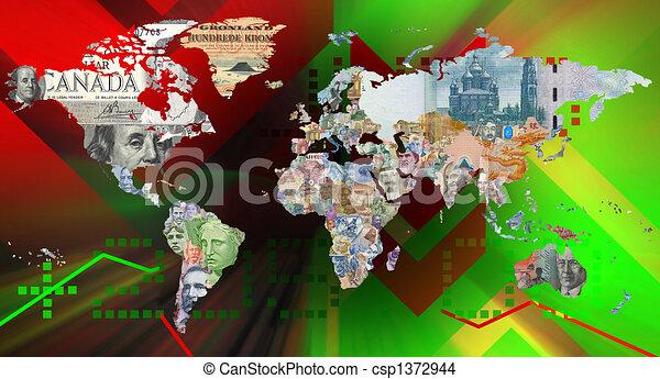 monnaie, mondiale, fond, carte - csp1372944