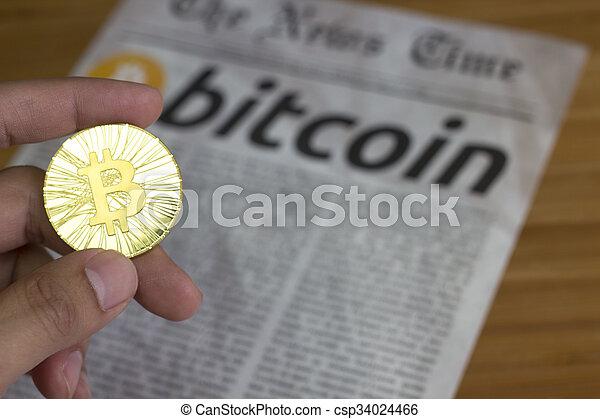 monnaie, nouveau, bitcoin, ligne - csp34024466