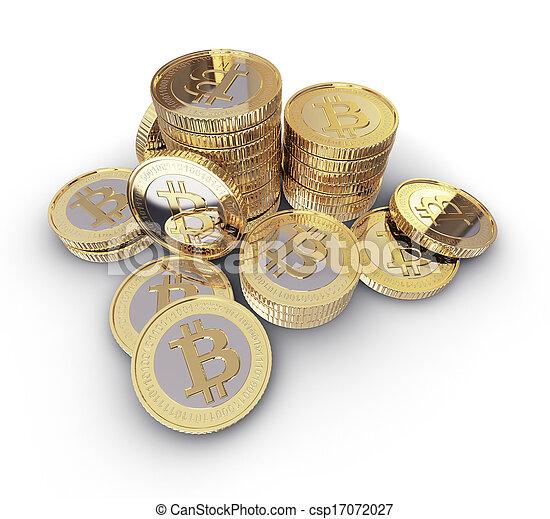 monnaie, numérique, bitcoin, doré - csp17072027