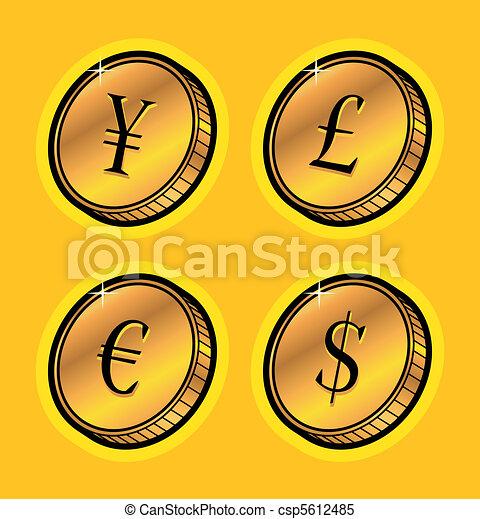 monnaie, pièces, doré - csp5612485