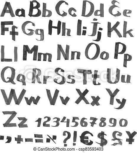 monnaie, police, figures, manuscrit, symboles - csp83593403