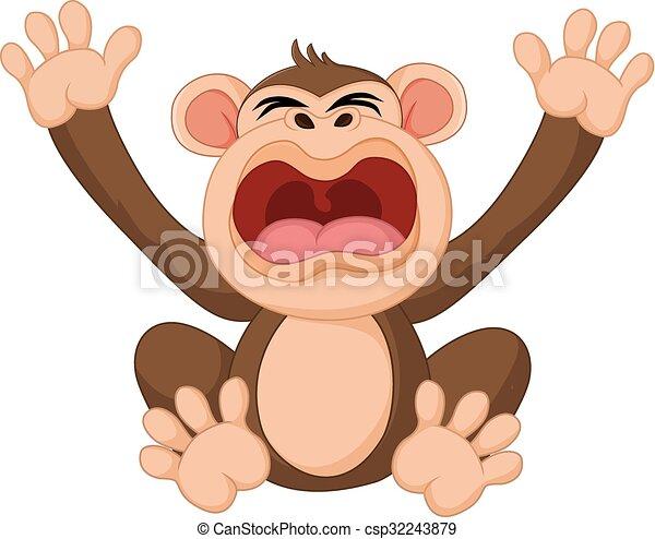 Lindo mono de dibujos animados - csp32243879