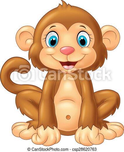 Mono de dibujos animados sentado - csp28620763