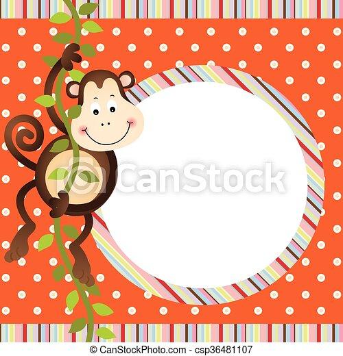 Mono colgando en el marco del árbol - csp36481107