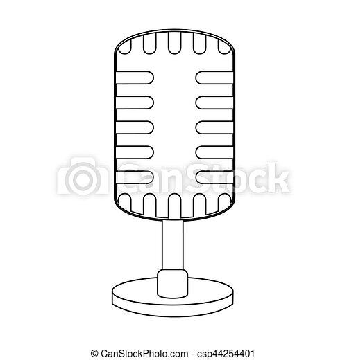 Monochrom, mikrophon, kondensator, kontur. Mikrophon,... Vektor ...