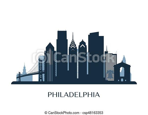 philadelphia skyline, monochrome silhouette. vector illustration. | canstock  can stock photo
